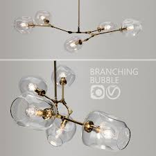 branching bubble 5 lamps by lindsey adelman clear gold 3d model in ceiling lights 3dexport