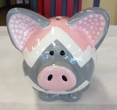 customer piece pink and gray chevron piggy bank painted at all fired up in ceramic paintingpottery