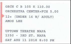 2 Tickets Amos Lee Uptown Theatre Napa 2nd Row