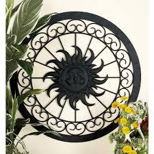 litton lane iron black rustic sun face round framed metal wall decor