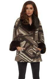 brown aztec print faux fur collar cuffs short coat
