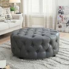 furniture of america karlie contemporary round tufted bonded leather ottoman overstock ping
