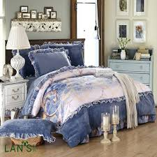 glacier blue velvet duvet cover soft velvet 4pcs bedding sets royal blue printed winter warm bedclothes
