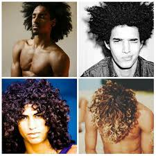 an ilrative set of pictures of four curly hair men with short to um length