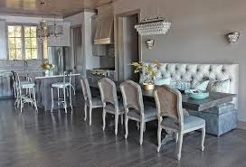 contemporary gray dining room with two tone banquette