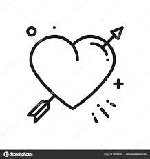 Ikona Srdce Lásky čáry šipky Happy Valentine Den Znamení A Symbol