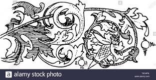 Engraving Border Designs Fourteenth Century Illumination Ornaments Border Is A