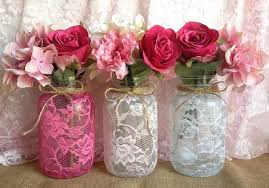 Decorative Jars And Vases 100 Lace Covered Mason Jar Vases Pink Hot Pink White Wedding 76