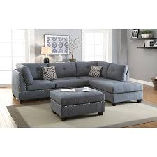 Modern Sofa For Living Room Simple Modern Living Room Blue Grey Nailhead Trim Tufted Polyfiber