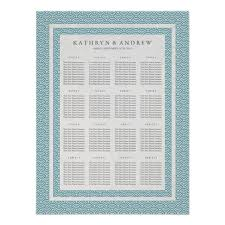 Wave Seating Chart Sea Blue Green Wave Pattern Wedding Seating Chart