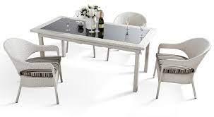 h20 5 piece white wicker patio dining set