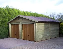 double garage with timber infill up over doors
