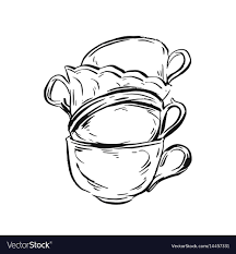 vintage tea cups drawing. Interesting Cups Hand Drawn Ink Graphic Vintage Tea Cups Vector Image To Vintage Tea Cups Drawing R