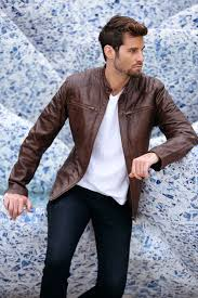 racer brown leather jacket mens genuine leather jackets cm02br model 1