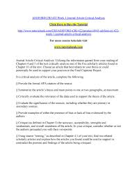 Critical Analysis Of Journal Articles Examples Critical Analysis