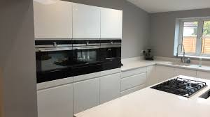 Gloss white Kitchen quartz worktops and Siemens appliances