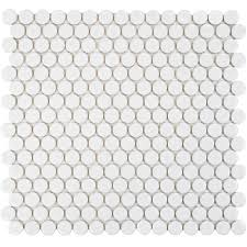merola tile hudson penny round glossy white 12 in x 12 5 8