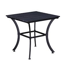 square faux wood slatted indoor and outdoor black steel side table