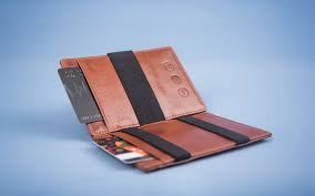 leather magic wallet in cognac