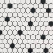 black and white 1x1 hexagon matte