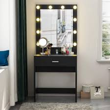 Where Can I Buy A Makeup Vanity Table With Lights Tribesigns Vanity Set With Lighted Mirror Makeup Vanity Dressing Table Dresser Desk With Large Drawre For Bedroom Black 10 Warm Led Bulb