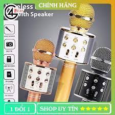 Mic karaoke bluetooth không dây Âm thanh to trầm ấm GWS858, Mic hát karaoke  kiêm loa bluetooth 6in1