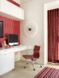 fusion in rose wallpaper chair and the curtain in the backdrop add red to the bunk bed home office energy