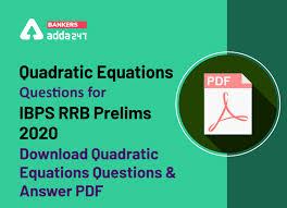 quadratic equations questions for ibps