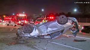 Car Overturns On 105 Fwy In Downey Killing Man Abc7 Com