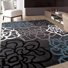 contemporary modern fl flowers gray area rug 5 2 x 7 2