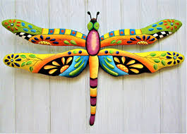 hand painted metal dragonfly wall art