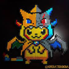 Made a Mega Charizard Y/X Costume Pikachu from Perler beads! : pokemon