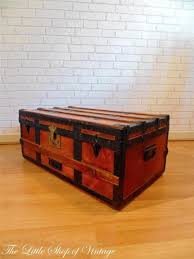 shabby chic trunk coffee table vintage banded steamer trunk storage chest ottoman toy box