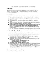 Mla 8th Edition Sample Paper 2018 10 Mla Style Rules Mla Style Guide Mla Rules Mla Formatting