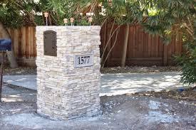 stone mailbox designs. Image Of: Eye Level Gray Cast Stone Mailbox Post Installation Designs