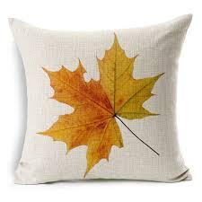 autumn leaves cushion yellow jungle leaf print linen cojines hot sale for sofa furniture home autumn furniture