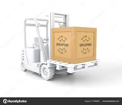 forklift truck with made in singapore wooden box on pallet stock photo