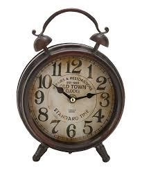 rustic metal table clock