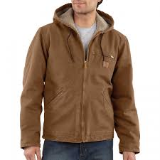 carhartt mens sandstone sierra jacket lined jacket brown