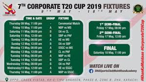 Schedule Of 7th Edition Of Corporate T 20 Cup 2019 Khilari