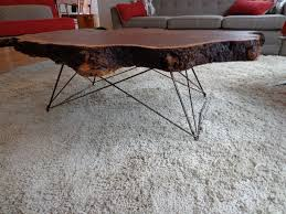 ... Coffee Table, Elegant Dark Brown Rectangle Industrial Solid Wood And Metal  Coffee Table Base Idea ...