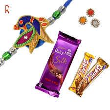 pea creativity rakhi with 3 chocolate
