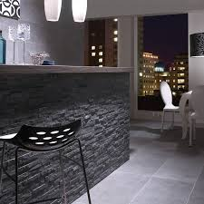 split face black slate natural stone cladding mosaic tile wall