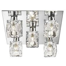 special offer searchlight 2275 5 5 light modern ice cube ceiling light with chrome back plate