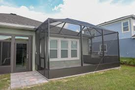 screen enclosure with patio and pavers