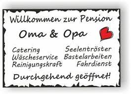 Schild Vintage 30x20cm Pension Oma Uopa Sprüche Wanddeko Türschild Geschenk V5