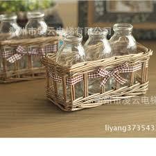 Decorative Glass Bottles Wholesale American country retro nostalgia rattan cane bottles glass vase 74