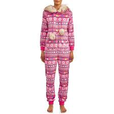 Holiday Time Womens And Womens Plus Size Faux Fur Trim Union Suit