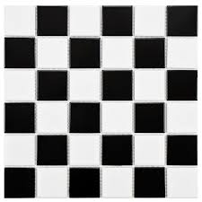 Black And White Pattern Tile Gorgeous Merola Tile Boreal Quad Checker Black And White 44484448448 In X 44484448448