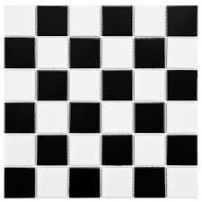 Black And White Pattern Tile Gorgeous Merola Tile Boreal Quad Checker Black And White 44484448448 In X 44484448448